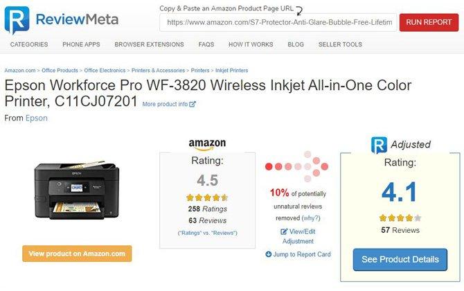 Revisión de la página Meta para la impresora multifunción Epson Workforce Pro WF 3820.  Muestra una imagen del producto, una calificación de producto ajustada que reduce la puntuación de 4.5 a 4.1 con un 10 por ciento de reseñas potencialmente antinaturales.