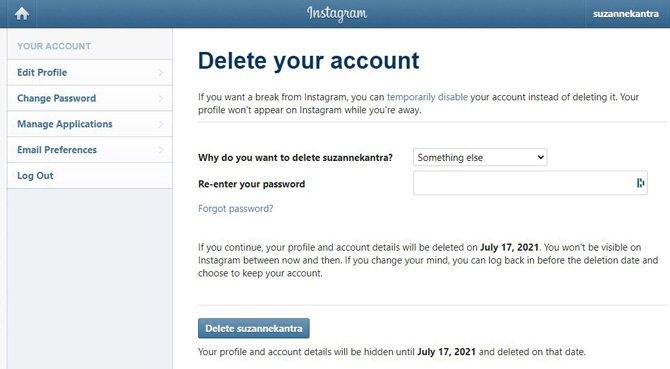 Instagram Elimine la página de su cuenta que muestra el motivo de la eliminación de la cuenta, el cuadro para volver a ingresar su contraseña y el botón Eliminar.