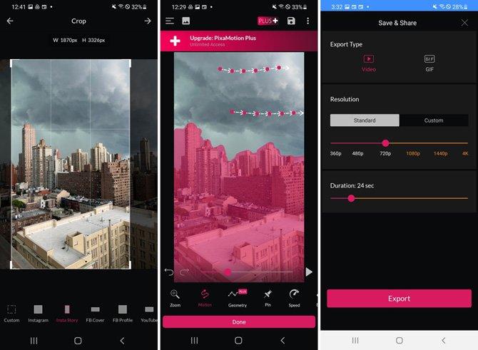 3 capturas de pantalla de la aplicación PixaMotion.  Desde la izquierda, captura de pantalla 1 recortando la imagen al tamaño de Insta Story.  La captura de pantalla 2 muestra una flecha en las nubes para animar las nubes y las áreas de color rosa en los edificios para evitar la animación.  La captura de pantalla 3 muestra las opciones para guardar como video o GIF, resolución de 240p a 4K y duración, con un botón de guardar en la parte inferior.