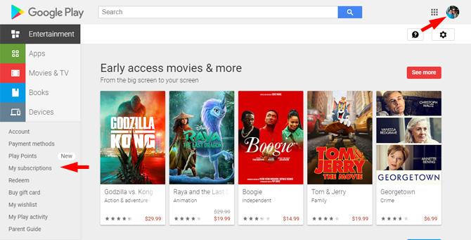 Captura de pantalla del sitio web de Google Play que muestra la opción Suscripciones en el menú que indica dónde encontrar su cuenta.