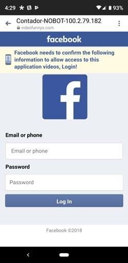 Inicio de sesión de phishing estafa de Facebook