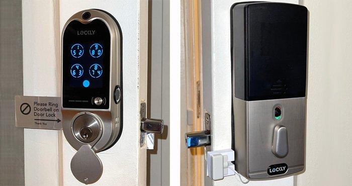Tomas exteriores e interiores de la cerradura inteligente de la puerta Lockly Vision