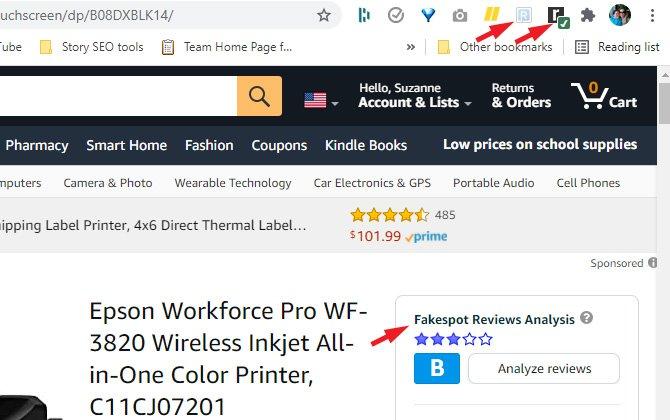 Página de producto de Amazon para la impresora Epson que indica los iconos de ReviewMeta y TheReviewIndex, así como la calificación de Fakespot.