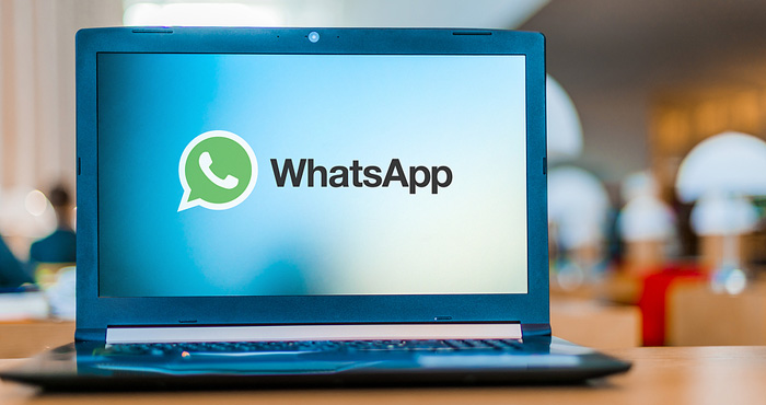 Whatsapp On Blue Laptop 700px