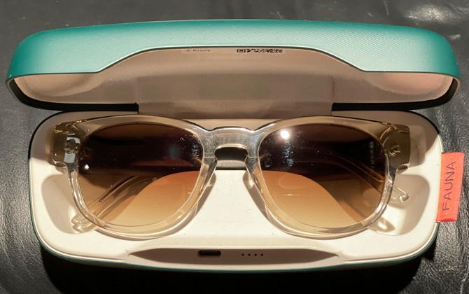 Vista superior de las gafas Fauna Audio en el estuche de carga.