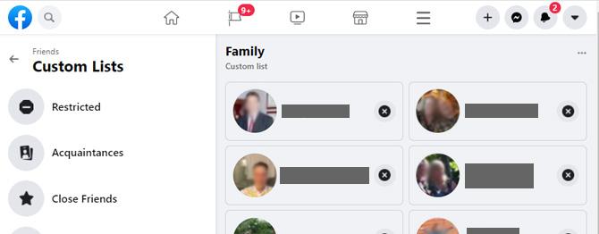 Captura de pantalla de la página de listas personalizadas de amigos de Facebook que muestra las listas de amigos restringidos, conocidos y cercanos.  A la derecha hay una lista personalizada de Familia con imágenes de personas a continuación.