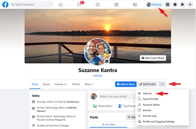 Captura de pantalla de la página de perfil de Facebook.  Verá en la barra de menú superior el nombre de la persona señalada.  Abajo, a la derecha, verá tres puntos señalados con un menú desplegable con Ver como (señalado), Perfil de búsqueda, Estado de cuenta, Archivo, Registro de actividad y Configuración de perfil y etiquetado.