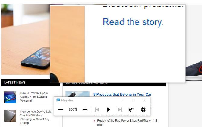 Captura de pantalla de la página de inicio de MundoCel con el cuadro de la lupa que muestra