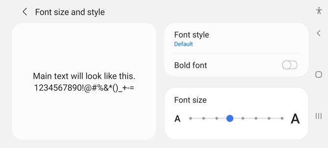 Captura de pantalla de la configuración del teléfono Samsung Android para el tamaño y estilo de fuente.  Puede ver una muestra del texto, un interruptor para fuente en negrita, un enlace en el que se puede hacer clic para fuentes adicionales y una barra deslizante para seleccionar el tamaño de fuente.