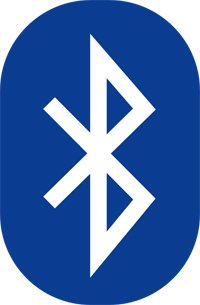 Logotipo de Bluetooth - logotipo blanco sobre fondo azul
